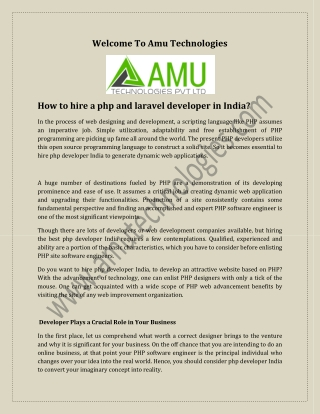 How to hire a php and laravel developer in India?