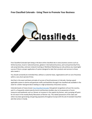 Free Classified Colorado - Using Them to Promote Your Business