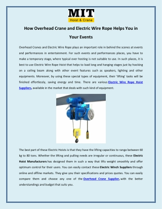 How Overhead Crane and Electric Wire Rope Helps You in Your Events