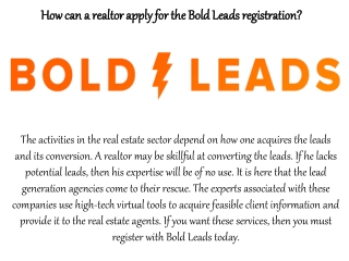 How can a realtor apply for the Bold Leads registration?