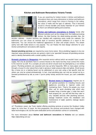 Kitchen and Bathroom Renovations Victoria Trends