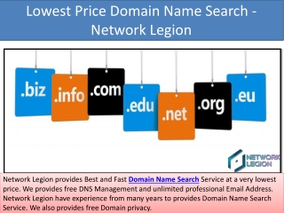 Lowest Price Domain Name Search and Web Site Hosting Service – Network Legion
