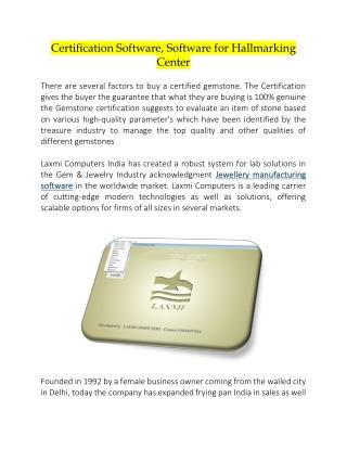 Certification Software, Software for Hallmarking center
