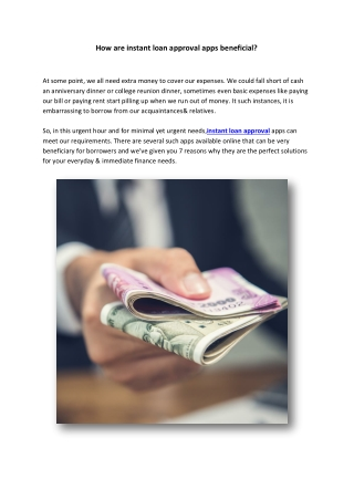 How are instant loan approval apps beneficial