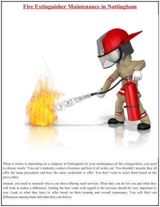 Fire Extinguisher Maintenance in Nottingham