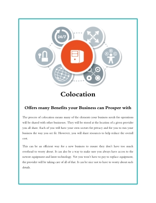 Colocation Offers many Benefits your Business can Prosper with