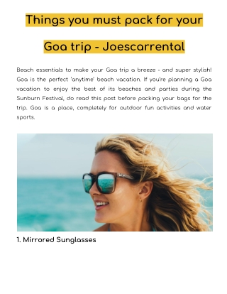 Things you must pack for your Goa trip - Joescarrental