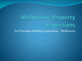 Melbourne Property Inspections