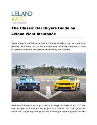 The Classic Car Buyers Guide by Leland West Insurance