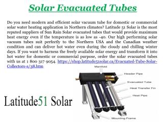 Solar Evacuated Tubes