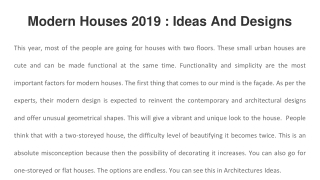 Modern Houses 2019 : Ideas And Designs With Images