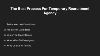 The Best Process For Temporary Recruitment Agency