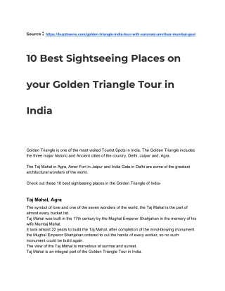 10 Best Sightseeing Places on the Golden Triangle Tour to India