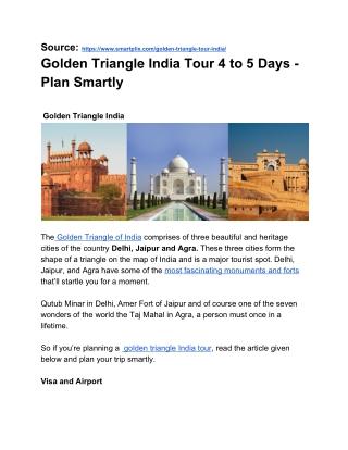Golden Triangle India Tour 4 to 5 days