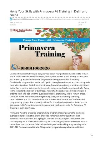 Primavera P6 Training in Delhi   Primavera P6 Training in Noida