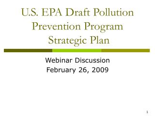 U.S. EPA Draft Pollution Prevention Program   Strategic Plan
