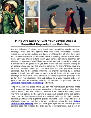 Ming Art Gallery: Gift Your Loved Ones a Beautiful Reproduction Painting