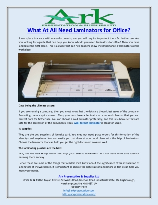 What At All Need Laminators for Office?