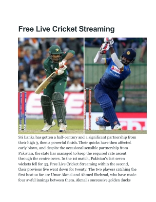 Free Live Cricket Streaming