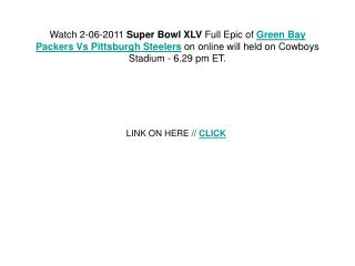 The Pittsburgh Steelers vs. Green Bay Packers will surely be