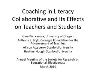Coaching in Literacy Collaborative and Its Effects on Teachers and Students