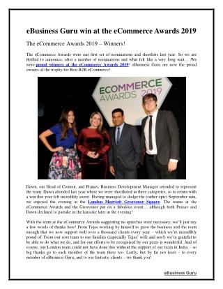 eBusiness Guru win at the eCommerce Awards 2019   eBusiness Guru