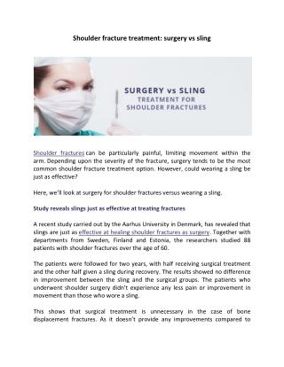 Shoulder fracture treatment: surgery vs sling