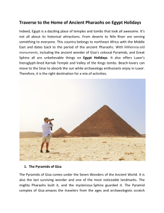 Traverse to the Home of Ancient Pharaohs on Egypt Holidays