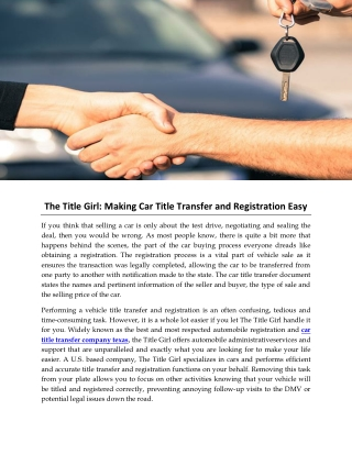 The Title Girl: Making Car Title Transfer and Registration Easy