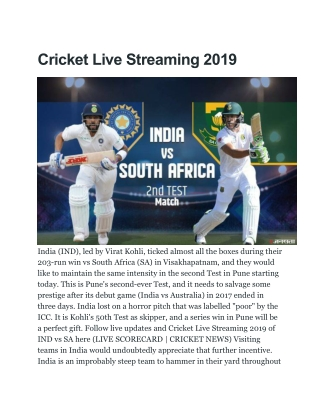 Cricket Live Streaming 2019