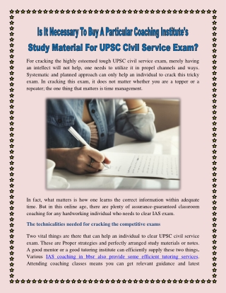 Is It Necessary To Buy A Particular Coaching Institute's Study Material For UPSC Civil Service Exam?