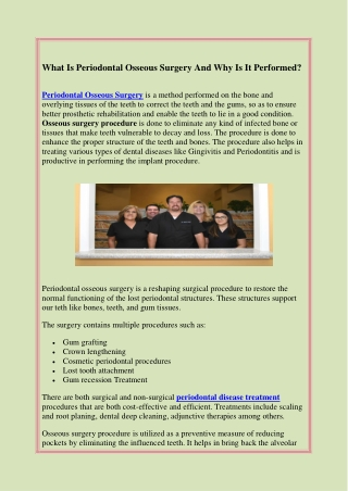 What Is Periodontal Osseous Surgery And Why Is It Performed