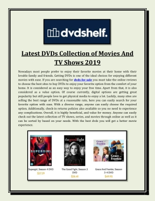 Latest DVDs Collection of Movies And TV Shows 2019