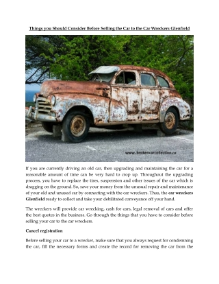 Things you Should Consider Before Selling the Car to the Car Wreckers Glenfield