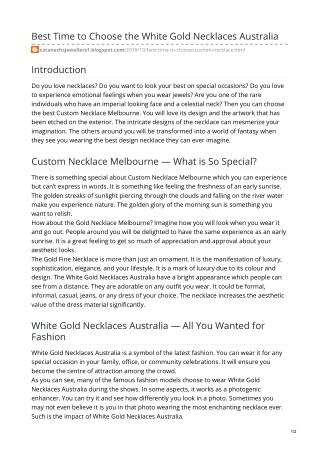 White Gold Necklaces Australia