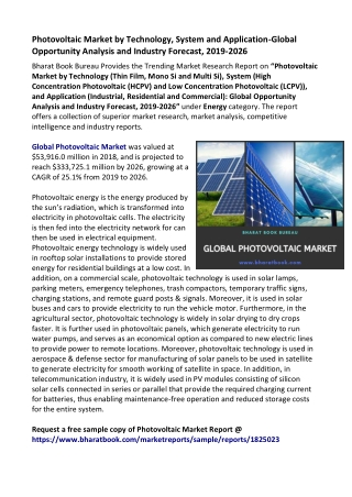 Global Photovoltaic Market : Size, Outlook, Trend and Forecast 2019-2026