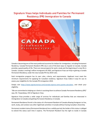 Signature Visas helps Individuals and Families for Canada PR