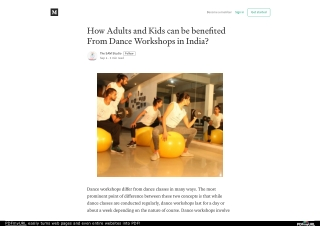 How Adults and Kids can be benefited From Dance Workshops in India?