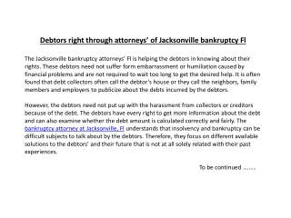 Debtors right through attorneys' of Jacksonville bankruptcy