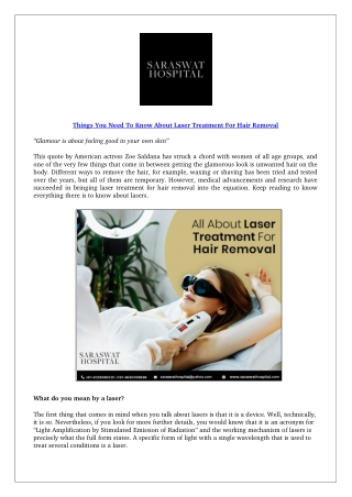 Things You Need To Know About Laser Treatment For Hair Removal