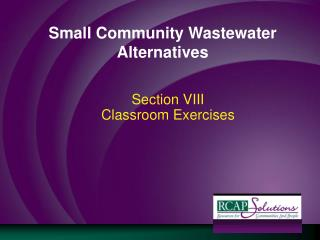 Small Community Wastewater Alternatives