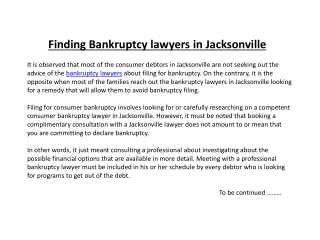 Finding Bankruptcy lawyers in Jacksonville