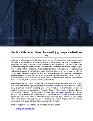 Hamilton Cahoon: Acclaimed Personal Injury Lawyers In Medicine Hat