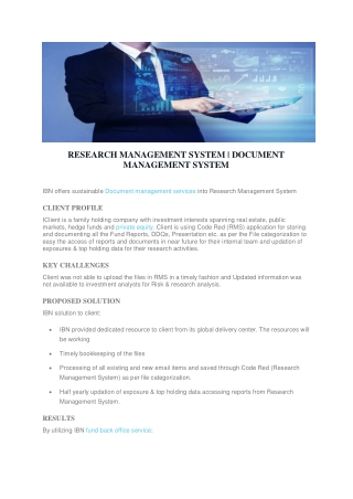RESEARCH MANAGEMENT SYSTEM | DOCUMENT MANAGEMENT SYSTEM