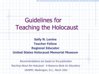Guidelines for    Teaching the Holocaust