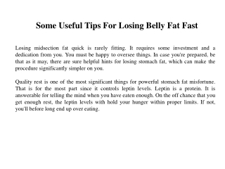 Some Useful Tips For Losing Belly Fat Fast