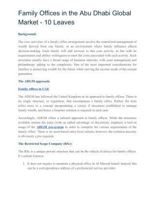 FAMILY OFFICES IN THE ABU DHABI GLOBAL MARKET - 10 Leaves
