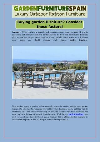 Buying Garden Furniture Consider Those Factors!