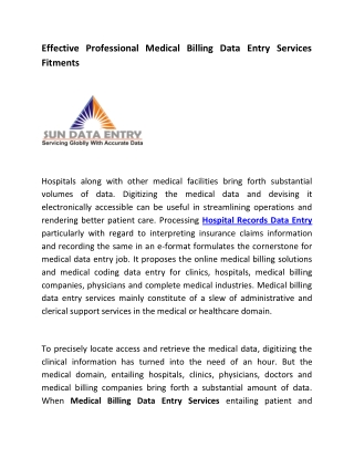 Effective Professional Medical Billing Data Entry Services Fitments