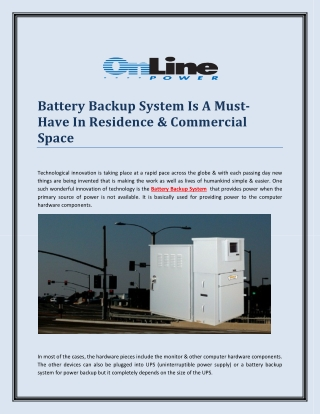 Battery Backup System Is A Must-Have In Residence & Commercial Space